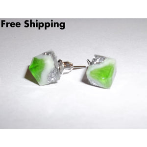 Vintage Lime Green White & Silver Sparkles Faceted Post Back Earrings - Earrings