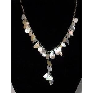 Vintage Mother Of Pearl Shell Silver Tone Necklace - Necklaces