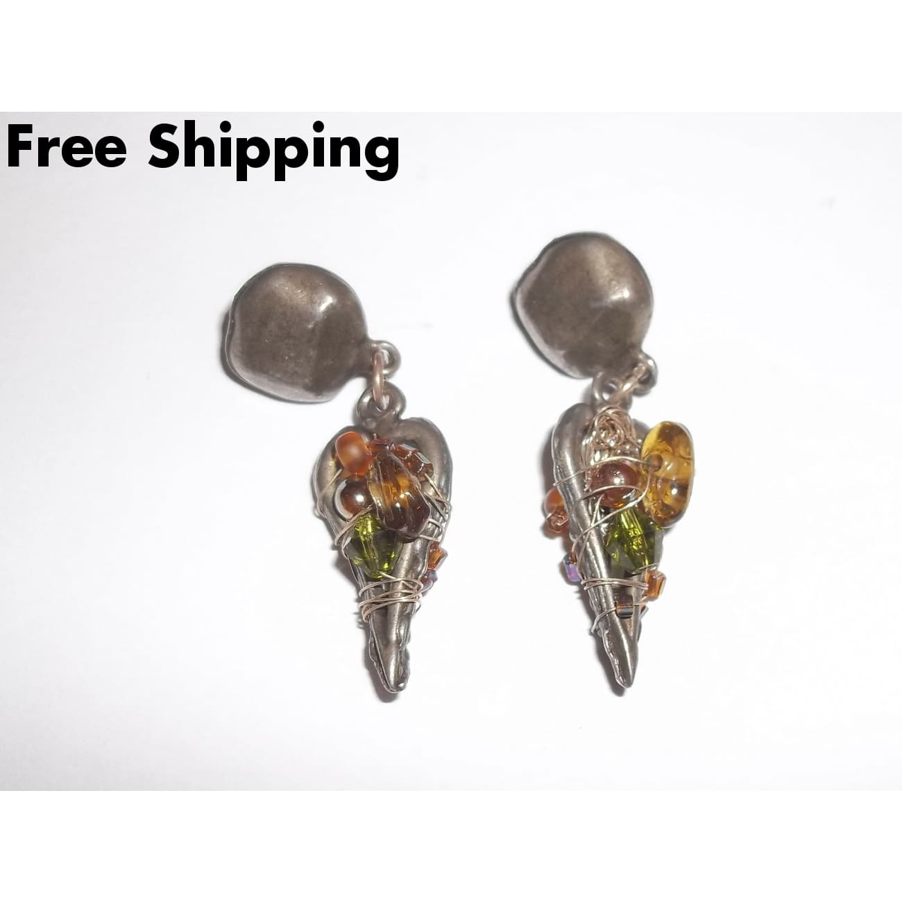 Vintage Pewter Wire Wrapped Amber Glass Beaded Goth Dangle Earrings - Vintage Handcrafted Artisan