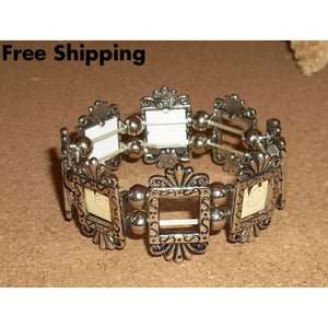 Vintage Photo Frame Mothers / Grandmothers Tibetan Silver Stretch Bracelet - Charms & Charm Bracelets