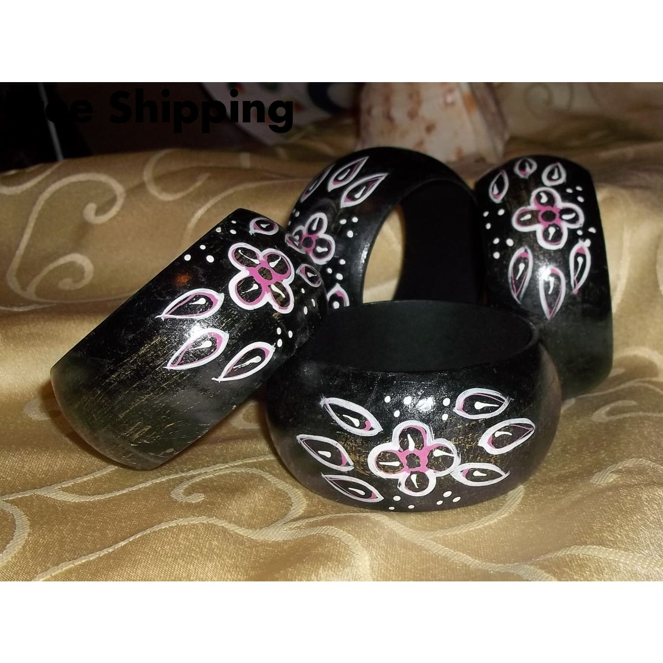 Vintage Rustic Black Dry Brushed W/ Pink & White Hand Painted Floral Design Wooden Bangle Bracelet - Vintage Handcrafted Artisan