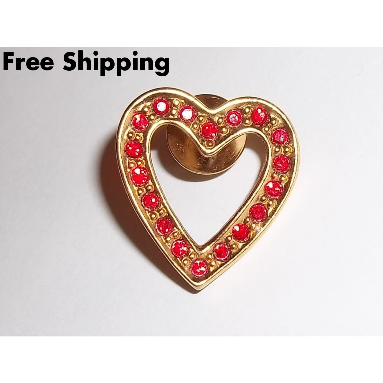 Vintage Signed Avon 1992 Sparkling Red Heart Gold Tone Brooch / Pin - Other Avon