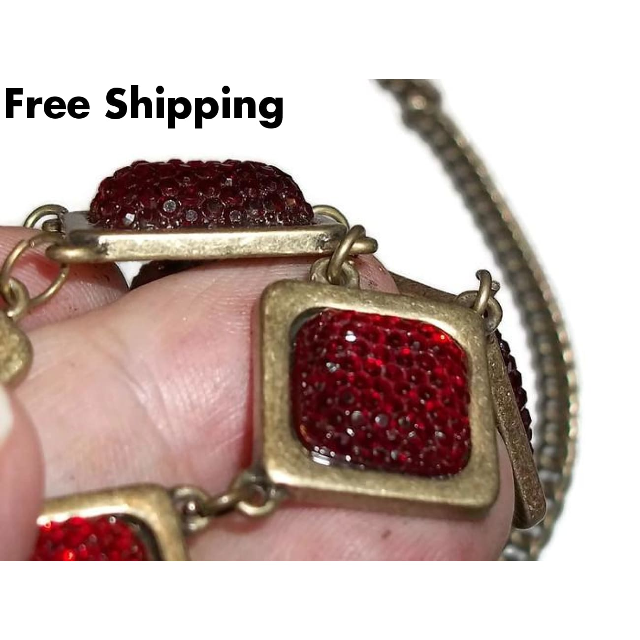 Vintage Statement Deep Red Acrylic Square Bronze Bib Necklace 18-20 - New Arrival