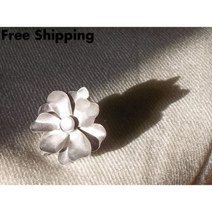 Vintage Statement Moonstone Flower Silver Tone Alloy Adjustable Ring Ca. 1970S - Vintage Handcrafted Artisan