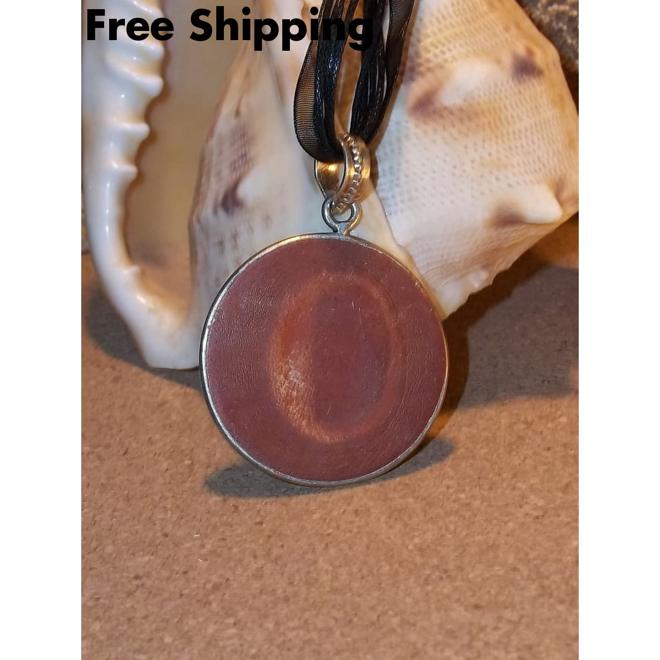 Vintage Sun Red Jasper Cabochon Medallion Hand Crafted Pendant On 18 Black Organza Cording - Vintage Handcrafted Artisan