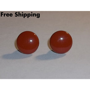 Vintage Texas Longhorn Burnt Orange Metal 12Mm Button Earrings - Vintage Handcrafted Artisan