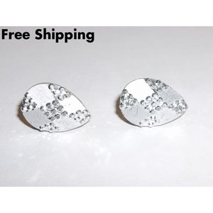 Vintage Textured Silver Tone Teardrop Post Back Earrings - Vintage Handcrafted Artisan