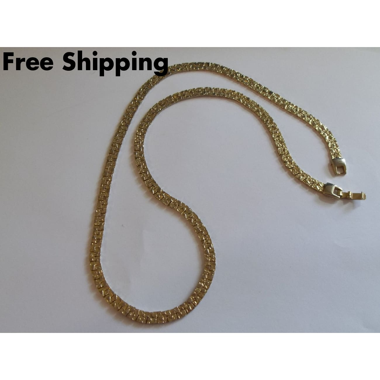 Vintage Unisex Mens Womens Gold Nugget Link Gold Tone 24 Necklace - Vintage Handcrafted Artisan