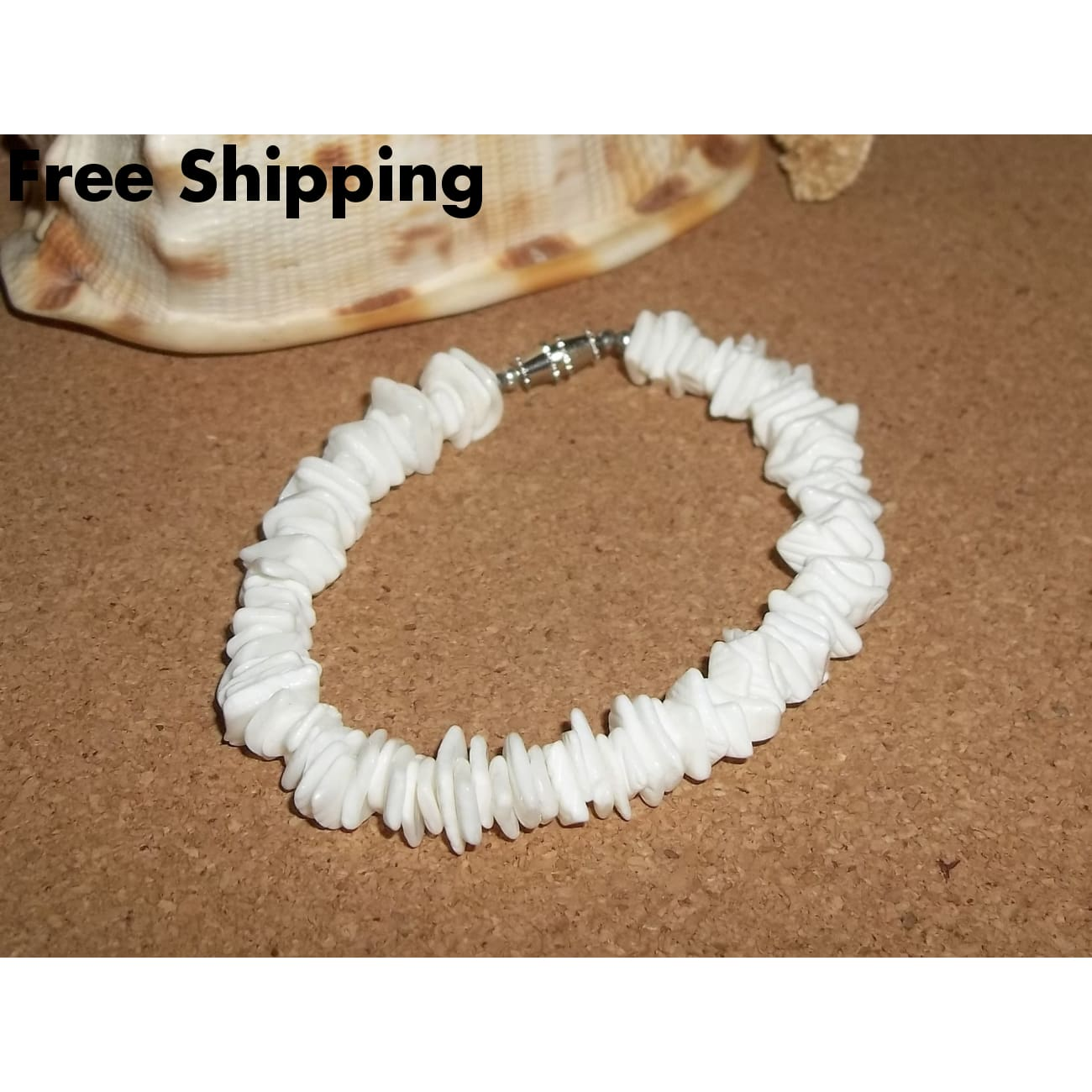 Vintage White Rose Clam Chips Puka Shell 8 Bracelet W/ Barrel Clasp - Bracelets