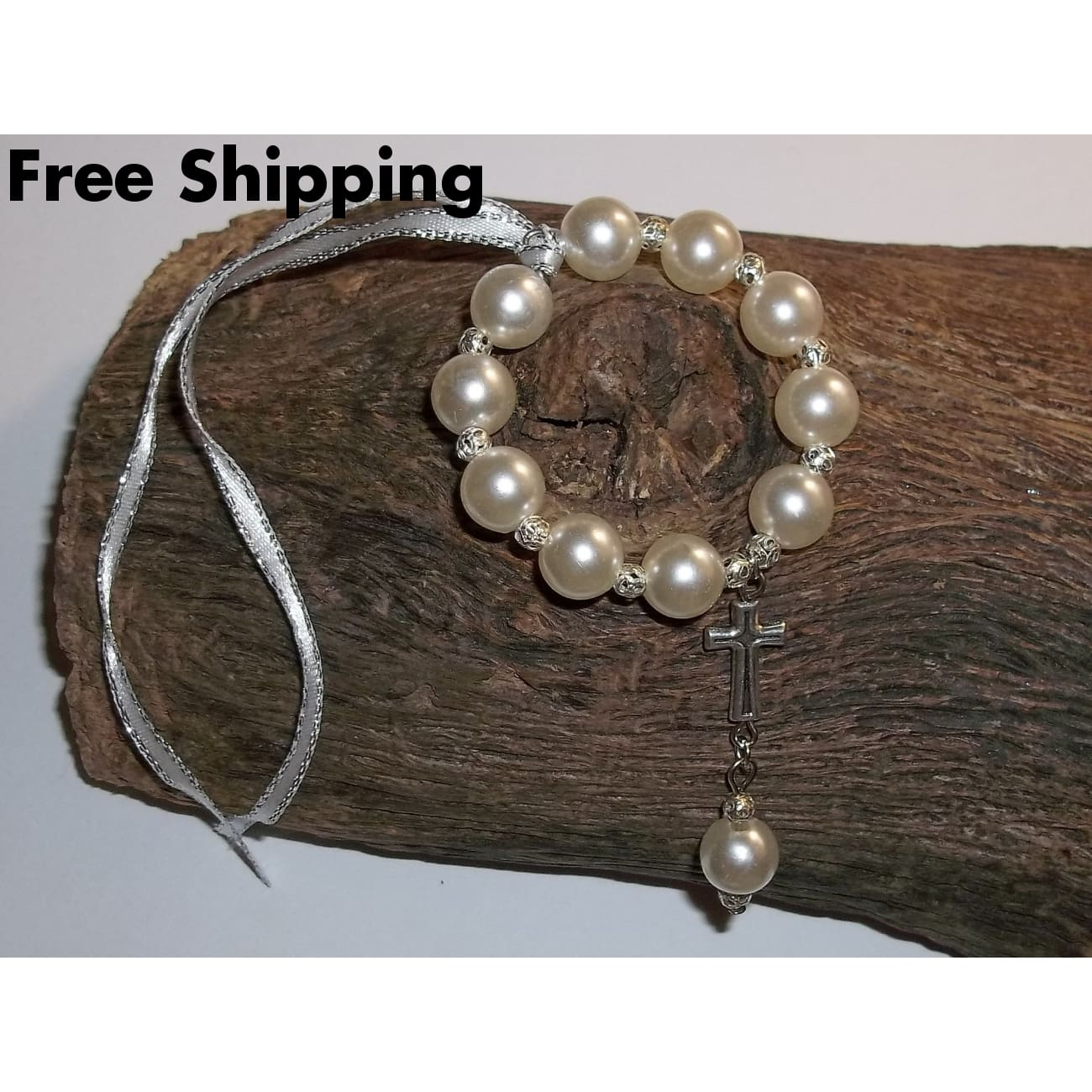 White Pearl And Tibetan Silver Car / Pocket Rosary - Rosaries