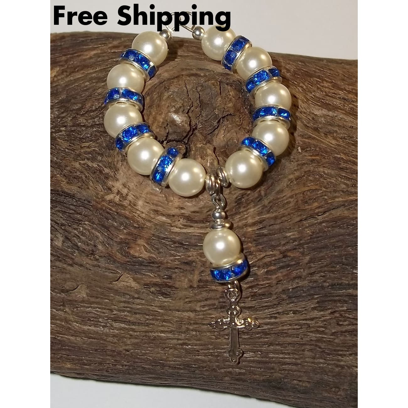 White Pearl Bead & Deep Blue Swarovski Crystal Rondelle Hand Crafted Car / Pocket Rosary - Rosaries