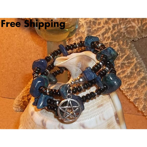 Wiccan Natural Lapis Lazuli And Black Wooden Beaded Hand Crafted Wrap Bracelet - Bracelets