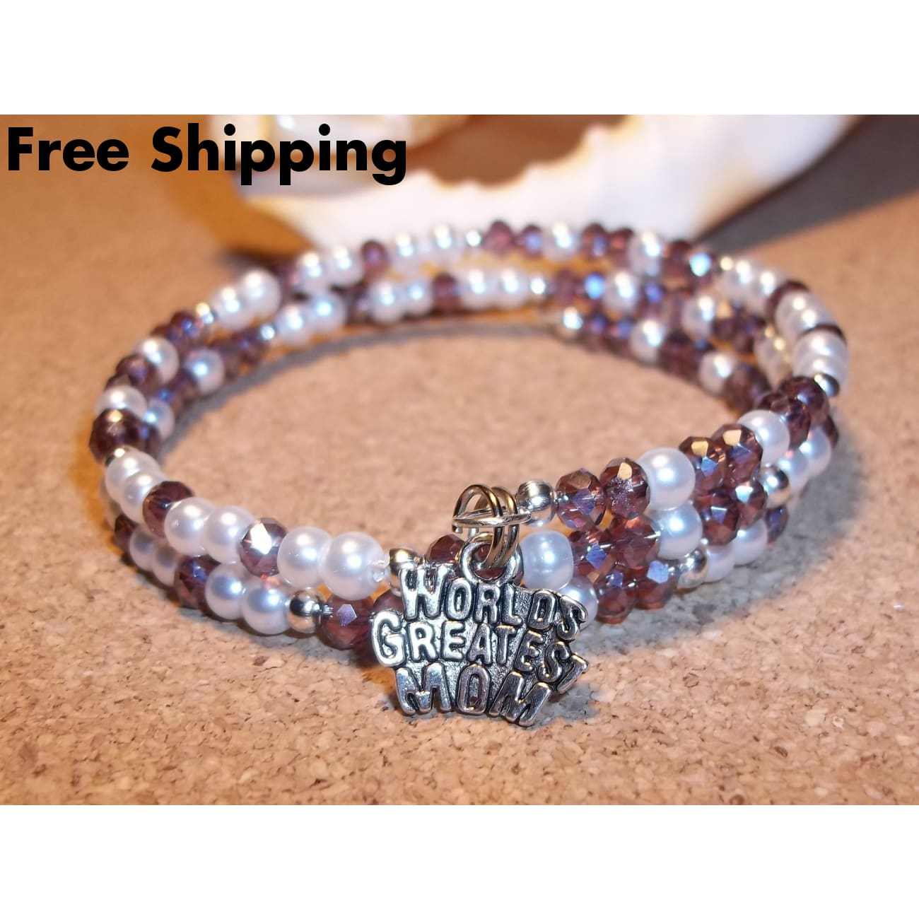 Worlds Greatest Mom Dusty Rose Swarovski Crystal & White Pearl Beaded Hand Crafted Wrap Bracelet - Bracelets