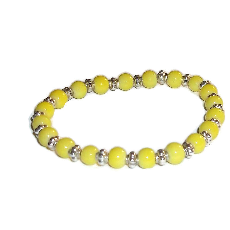 Unisex Yellow Jade Silver Beaded Adjustable Stackable Stretch Bracelet (S-M)