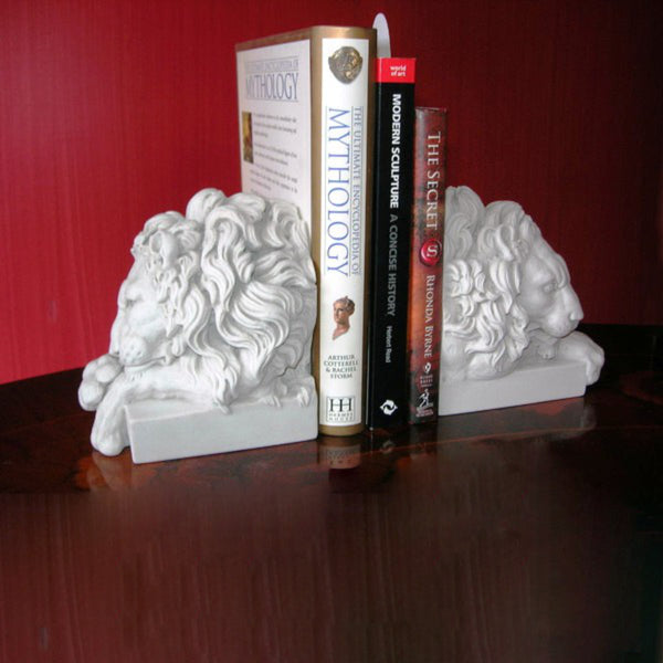 Beautiful set of marble Sleeping Lions Bookends
