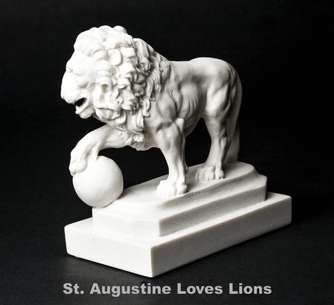 St. Augustne Lion Replica Orb in Right Paw