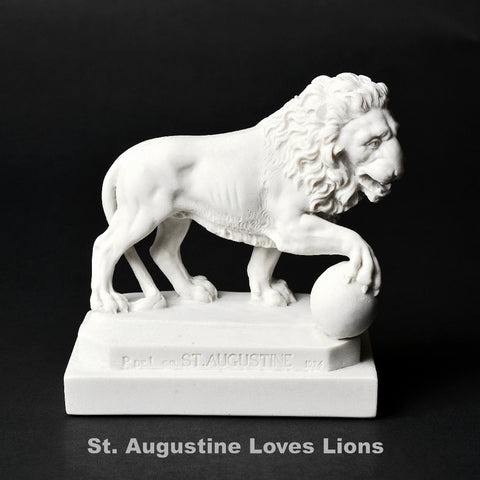 Set of Two Marble St. Augustine Lion Replicas