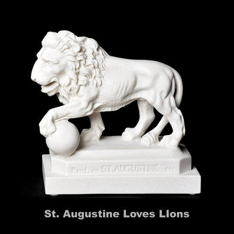 St. Augustine Lion Replica Single Orb Under Left Paw