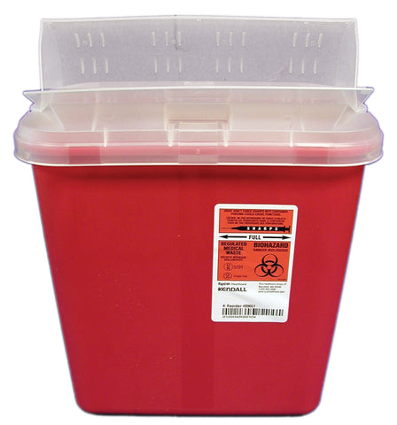 2 Gallon Red Sharps Container with Horizontal Drop Lid