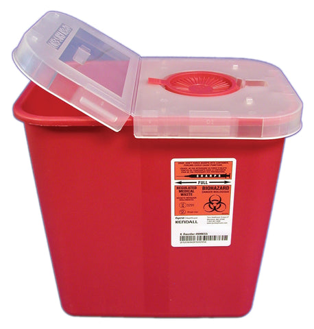 Gallon Red Sharps Container with Hinged Lid