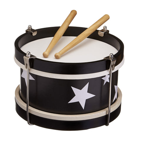 Star Wooden Toy Drum - Black