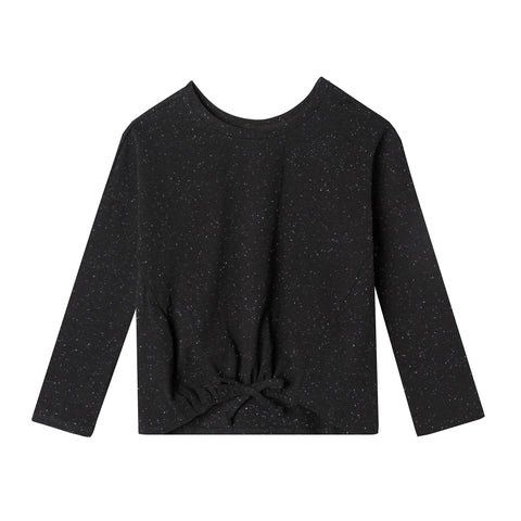 Speckled Midnight Tie Front Long Sleeve