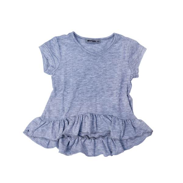 V-Neck Ruffle Hem High Low Tee