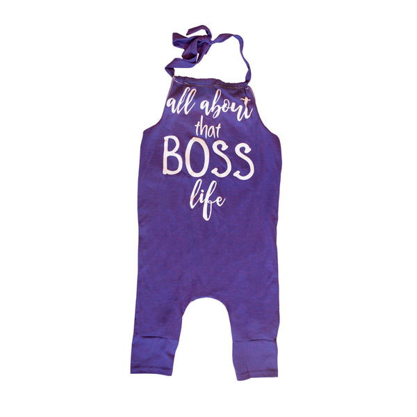 Boss Life Romper - Purple Heather