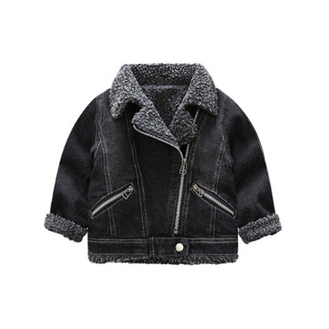 Shearling Moto Jacket - Black