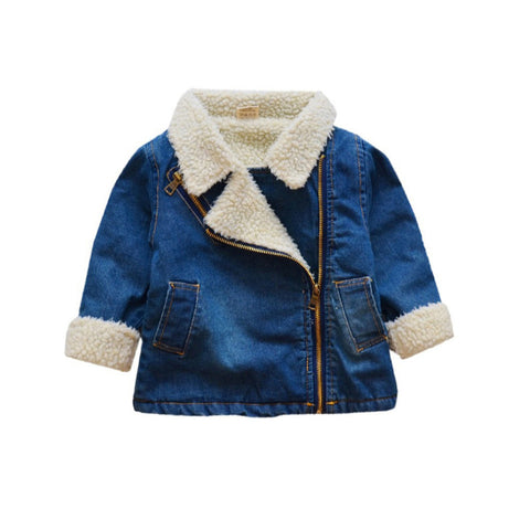 Shearling Moto Jacket - Denim