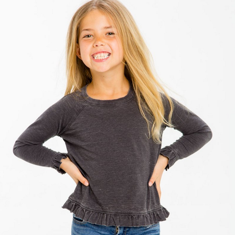 Chaser Kids Grey Ruffle Bottom Top