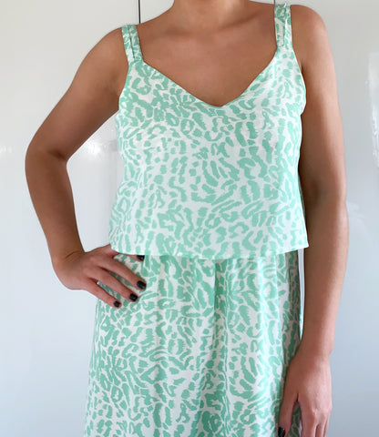 Mint Green Leopard Print Maxi Dress with Side Split