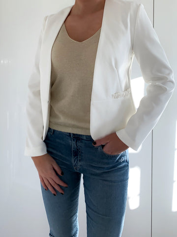 White Frill Pocket Jacket
