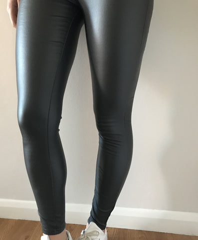 Grey Leather Look Jeans