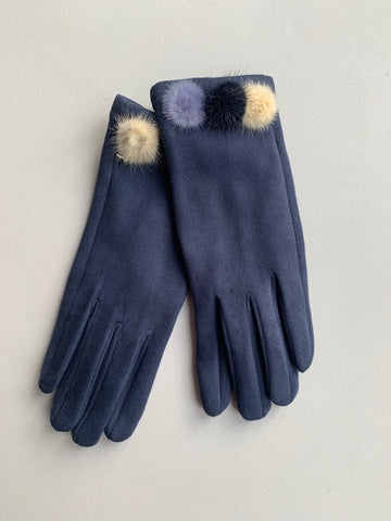 Navy Soft Touch Gloves with Coloured Fur