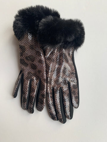 Black and Brown Snakeprint Gloves with Fur Trim