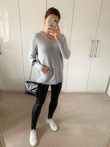 Grey Longline Hooded Jumper