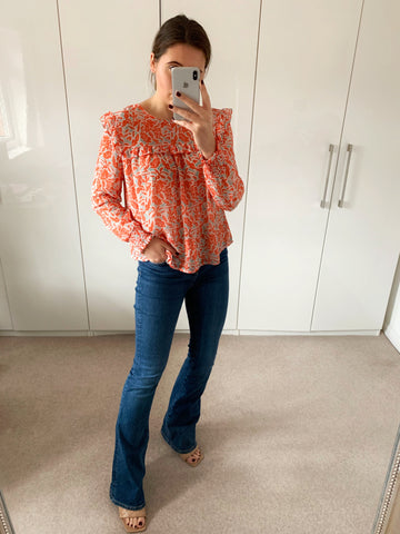 Coral Patterned Frill Blouse