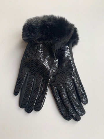Black Snakeprint Gloves with Fur Trim