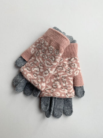 Pink and Grey Leopard Print Gloves