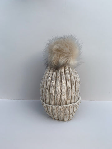 Beige Diamanté Knitted Hat with Faux Fur Bobble