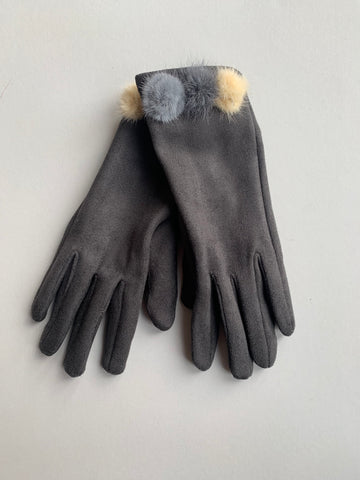 Charcoal Grey Soft Touch Gloves with Coloured Fur