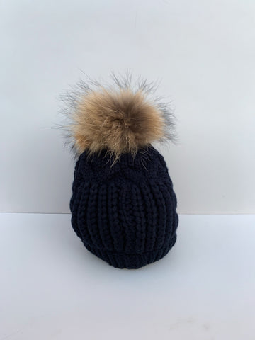 Navy Cable Knit Hat with Fur Bobble
