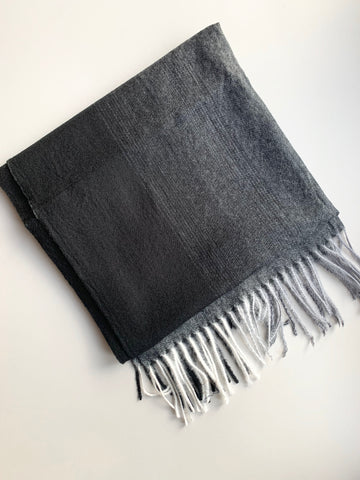 Black and Grey Ombré Wool Scarf