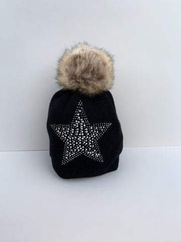 Black Embellished Star Knitted Hat with Faux Fur Bobble