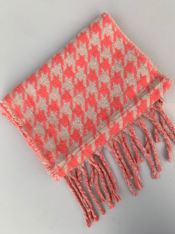 Pink Houndstooth Scarf with Glitter Thread