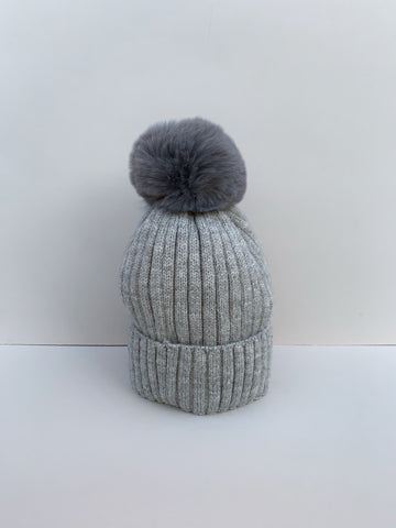 Grey Knitted Hat with Faux Fur Bobble