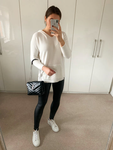 Cream Longline Hooded Jumper