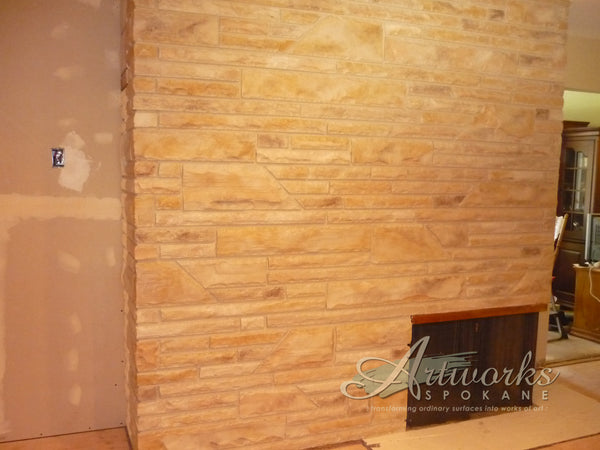 faux painted brick to look like natural stone