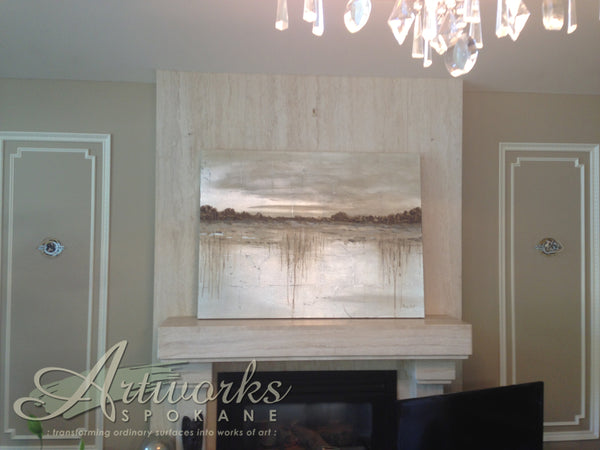 custom artwork above the mantel